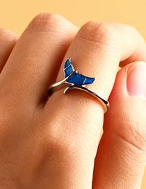 Fashion Royal Blue Dolphin Oil Drop Alloy Ring