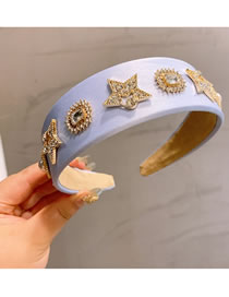 Fashion Lavender Diamond-studded Five-pointed Star Alloy Pearl Broadside Headband Reviews
