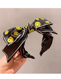 Fashion Double Knot Black Silk Printed Smiley Face Double-layer Bow Headband
