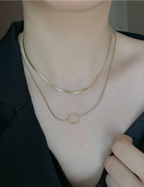 Fashion Golden Geometric Hollow Stainless Steel Multilayer Necklace