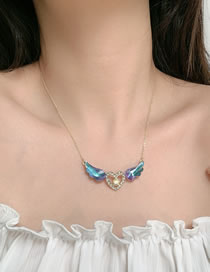 Fashion Necklace Diamond Crystal Love Heart Wing Alloy Necklace Hairpin