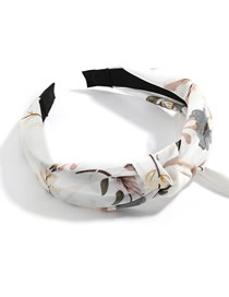 Fashion White Flower And Grass Printed Chiffon Yarn Fabric Wide Side Knotted Headband