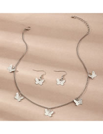 Fashion Silver Butterfly Alloy Pendant Earrings Necklace