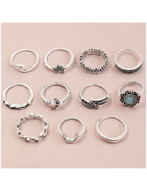 Fashion Silver Resin Butterfly Leaf Alloy Ring Set