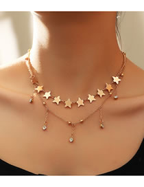 Fashion Golden Five-pointed Star Diamond Pendant Tassel Alloy Multilayer Necklace
