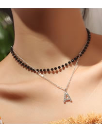Fashion Silver Letter Diamond Beaded Alloy Multilayer Necklace