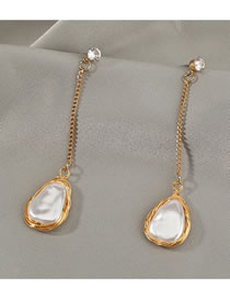 Fashion Golden Diamond And Pearl Geometric Alloy Earrings