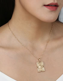 Fashion Golden Square Embossed Alloy Necklace