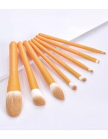 Fashion 8 Little Wasps Wooden Handle Aluminum Tube Makeup Brush Set