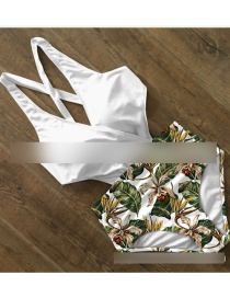 Fashion Green Leaves + White Printed Strappy Cutout Plus Size One-piece Swimsuit