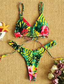 Fashion Safflower On Yellow Braided Rope Flower Printed Tuber Split Swimsuit