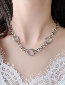 Fashion Silver Geometric Thick Chain Necklace With Diamonds