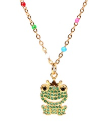Fashion Green Diamond Frog Stainless Steel Necklace