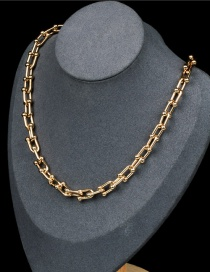 Fashion Golden U-shaped Stainless Steel Bamboo Joint Lock Thick Chain Necklace