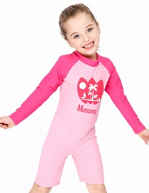 Fashion Pink Childrens One-piece Long-sleeved Coconut Swimsuit