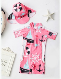 Fashion Pink Navigator Pink Anchor Pattern Childrens One-piece Swimsuit Set