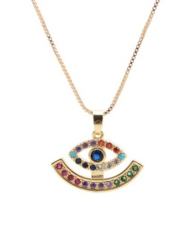 Fashion Hollow Eyes Copper Inlaid Zircon Eye Cutout Pendant Necklace