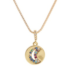Fashion Moon Hollow Micro-set Zircon Moon And Star Pendant Necklace
