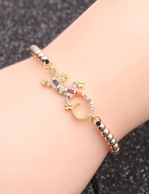 Fashion Mixed Color Bead Chain Gecko Copper Micro-inlaid Zircon Gecko Round Bead Adjustable Bracelet
