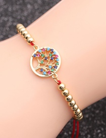 Fashion Red String Bead Chain Tree Of Life Micro-inlaid Zircon Tree Of Life Hollow Bracelet