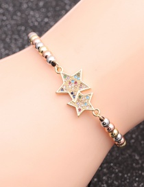 Fashion Mixed Color Bead Chain Color Zirconium Five-star Micro-inlaid Zircon Five-pointed Star Beaded Bracelet