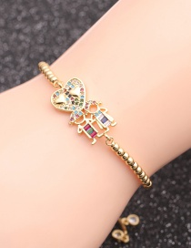 Fashion Black Rope Bead Chain Gold Micro-inlaid Zircon Couple Love Heart Hollow Beaded Bracelet