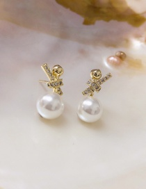 Fashion Golden Bow Pearl And Diamond Knot Earrings