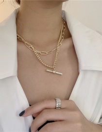 Fashion Golden Chain Word Full Diamond Double Necklace