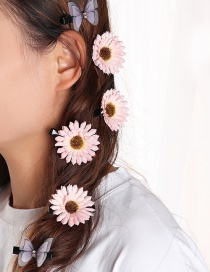 Fashion Flowers Pink Small Daisy Flower Fabric Alloy Hairpin Set