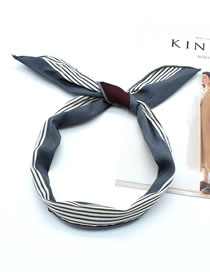 Fashion New Striped Gray Iron Wire Pineapple And Flamingo Striped Plaid Printed Rabbit Ear Wire Hairband