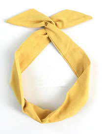 Fashion Yellow Suede Solid Color Rabbit Ears Iron Wire Cross Headband