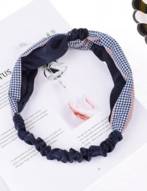 Fashion Imitation Silk Color Matching Navy Blue + Lattice Faux Silk Check Color Knotted Headband