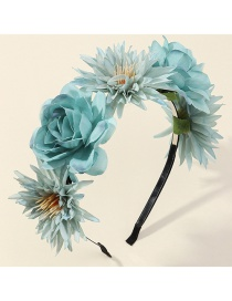 Fashion Blue Three-dimensional Flower Net Yarn Pearl Fabric Alloy Hair Band