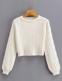 Fashion Creamy-white Cuffs Twist Round Neck Short Knitted Sweater