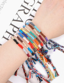 Fashion White+red Hemp And Cotton Woven Contrast Color Tassel Elastic Bracelet