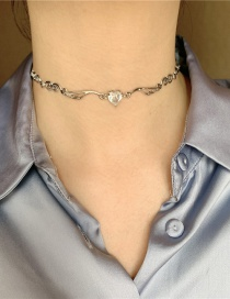 Fashion Silver Diamond Heart Geometry Alloy Necklace