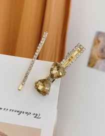 Fashion Champagne Yellow Diamond-studded Butterfly Combined With Gold Multi-layer Hairpin