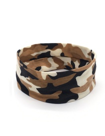 Fashion Brown Camouflage Print Sports Yoga Wide Brim Headband