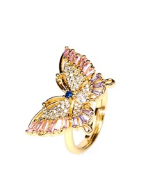 Fashion Pink Copper Inlaid Zircon Butterfly Open Ring