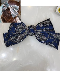 Fashion Blue Printed Big Bow Fabric Alloy Hairpin