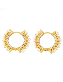 Fashion Golden Copper Inlaid Zircon Pearl Rivet Round Earrings