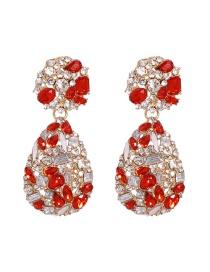 Fashion Red Drop-shaped Diamond Alloy Earrings