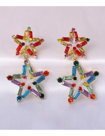 Fashion Color Diamond Five-pointed Star Alloy Hollow Earrings