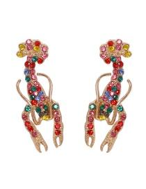 Fashion Color Diamond-studded Crayfish Alloy Earrings