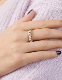 Fashion White Five-pointed Star Dripping Oil Contrast Ring