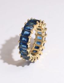 Fashion Blue Copper Inlaid Zircon Rectangular Ring