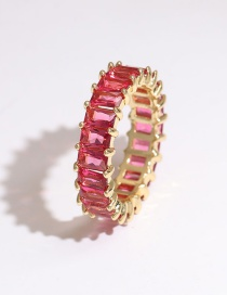 Fashion Rose Red Copper Inlaid Zircon Rectangular Ring