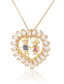 Fashion Gilded Boy Girl Copper Inlaid Zircon Love Couple Hollow Necklace