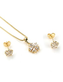 Fashion Gold-plated White Zircon Copper Inlaid Zircon Flower Necklace Earrings