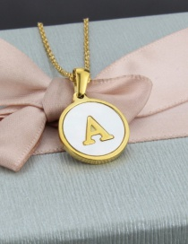 Fashion A Letter Stainless Steel Round Shell Letter Necklace